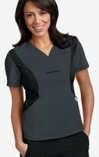 Active Flexi V-Neck Scrub Top by MOBB - Charcoal/Black (CC-BL)