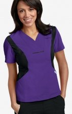 Active Flexi V-Neck Scrub Top by MOBB - Eggplant/Black (EG-BL)