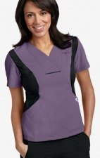 Active Flexi V-Neck Scrub Top by MOBB - Indigo/Black (IN-BL)