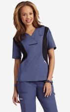 Active Flexi V-Neck Scrub Top by MOBB - Postman/Black (PS-BL)