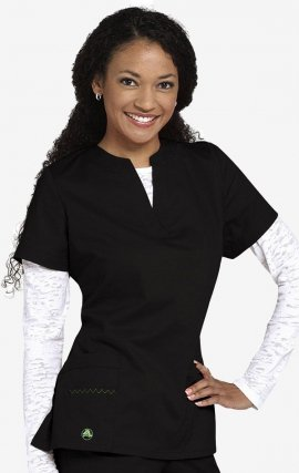 CROCS Vicki Notched V-neck Scrub Top - Black
