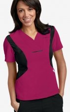 Active Flexi V-Neck Scrub Top by MOBB - Raspberry/Black (RA-BL)
