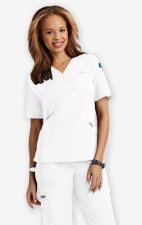 Active Flexi V-Neck Scrub Top by MOBB - White/White (WH-WH)
