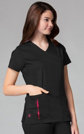 1712 - PrimaFlex - Mock Wrap Pleated Contrast Pocket Top - Black/Ruby
