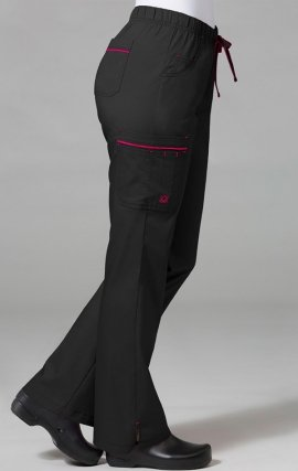 7302 - PrimaFlex - Full Elastic Dual Multi Cargo Pocket Pant - Black/Ruby