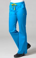 9102 Maevn Blossom - Multi Pocket Fashion Flare Pant - Pacific Blue/Yellow