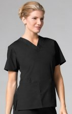 1016 Maevn CORE - 2 Pocket V-Neck Top - Black