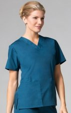 1016 Maevn CORE - 2 Pocket V-Neck Top - Caribbean Blue