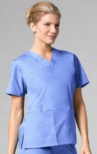 1016 Maevn CORE - 2 Pocket V-Neck Top - Ceil Blue