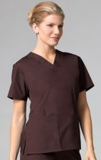 1016 Maevn CORE - 2 Pocket V-Neck Top - Chocolate