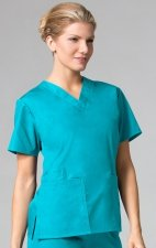 1016 Maevn CORE - 2 Pocket V-Neck Top - Lake Blue