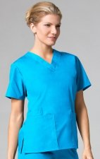 1016 Maevn CORE - 2 Pocket V-Neck Top - Malibu Blue