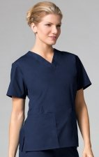 1016 Maevn CORE - 2 Pocket V-Neck Top - Navy