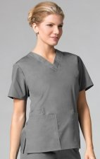 1016 Maevn CORE - 2 Pocket V-Neck Top - Pewter