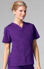 1016 Maevn CORE - 2 Pocket V-Neck Top - Purple