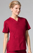1016 Maevn CORE - 2 Pocket V-Neck Top - Red