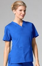 1016 Maevn CORE - 2 Pocket V-Neck Top - Royal Blue