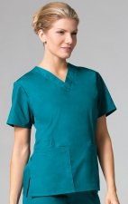 1016 Maevn CORE - 2 Pocket V-Neck Top - Teal