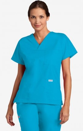 V-Neck Trois Pocket Dolman Sleeve MOBB Scrub Top - Aqua (AQ)
