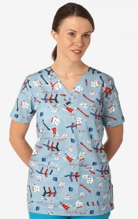 320T Dental Brigade MOBB V-Neck Print Scrub Top