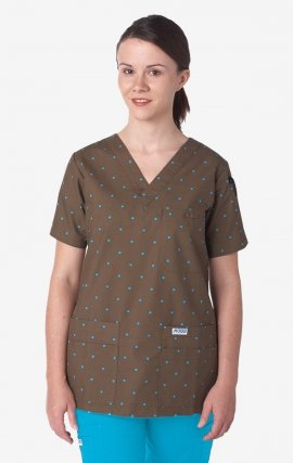 320T Brown Polka Dot MOBB V-Neck Print Scrub Top