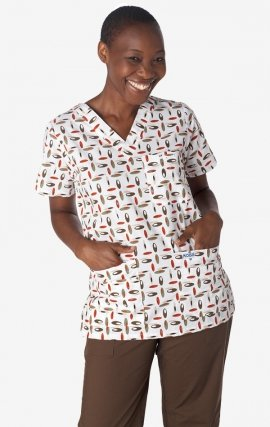 320T OVAL COLLAGE MOBB V-Neck Print Scrub Top