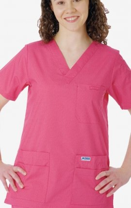 320T Dusty Rose Polka Dot MOBB V-Neck Print Scrub Top