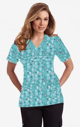 420T FIREWORKS Empire Tie Back Scrub Top by MOBB