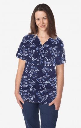 320T BLUE CHEERIOS MOBB V-Neck Print Scrub Top