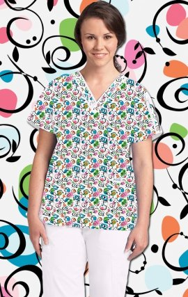 320T Dizzy Vines MOBB V-Neck Print Scrub Top