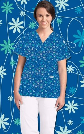 320T FLOWER POWER MOBB V-Neck Print Scrub Top