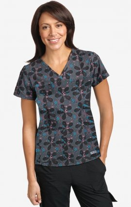 320T PRETTY IN PETALS MOBB V-Neck Print Scrub Top