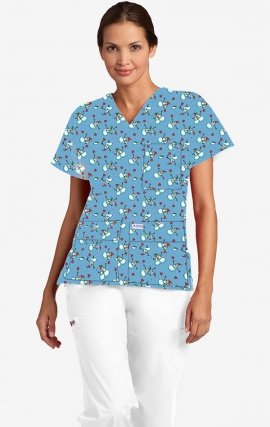 320T Mr. Frosty MOBB V-Neck Print Scrub Top