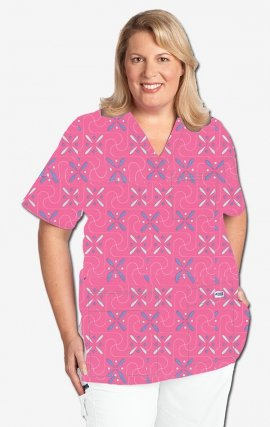 320T Labyrinth MOBB V-Neck Print Scrub Top