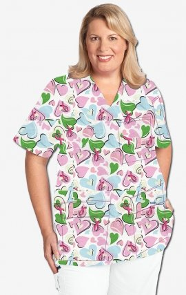320T Pinned Heart MOBB V-Neck Print Scrub Top