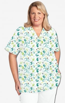 320T RING AROUND MOBB V-Neck Print Scrub Top