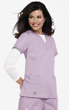 CROCS Vicki Notched V-neck Scrub Top - Light Lilac