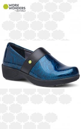Camellia Work Wonders by Dansko™ - Blue Tooled Patent Leather