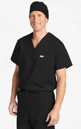 3beb0a76ae5 MOBB Unisex V-Neck Scrub Top (Men's View) - Black ...
