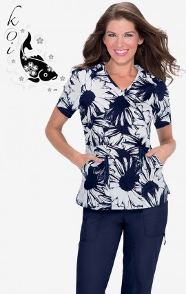 297PR koi Stretch Scrubs Summer Sunflowers Print Top