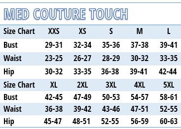 Med Couture Performance Touch Medical Uniforms - Size Chart