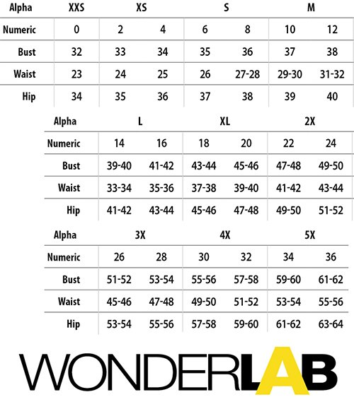 WonderWink WonderLAB Medical Uniforms Canada - Size Chart