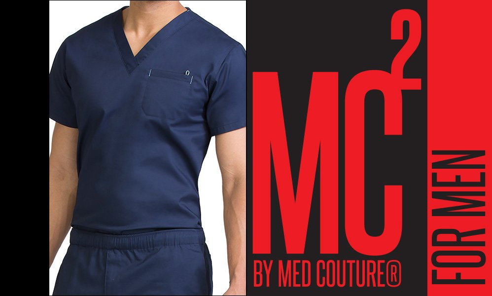 Med Couture men's medical uniforms and scrub tops.