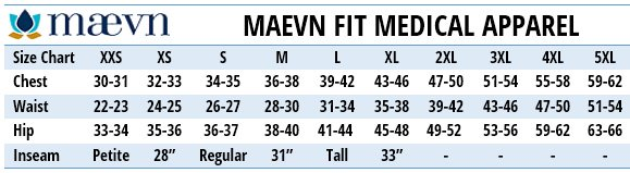 Maevn Medical Uniforms Canada - Size Chart