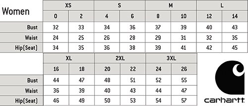 Carhartt Unisex Medical Uniforms Canada - Size Chart