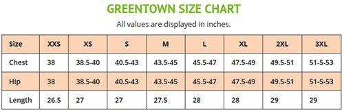 Greentown Medical Uniforms Canada - Size Chart