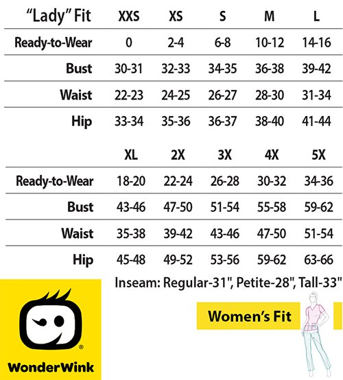 WonderWink Four-Stretch Medical Uniforms Canada - Size Chart